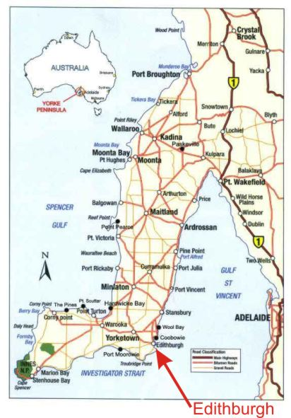 CLICK ON MAP TO ENLARGE Map of Yorke Peninsula